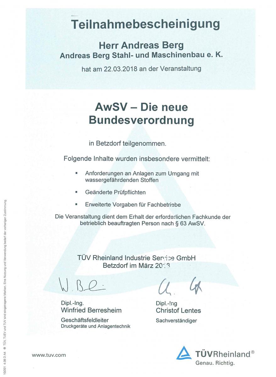 AwSV neue Bundesverordnung