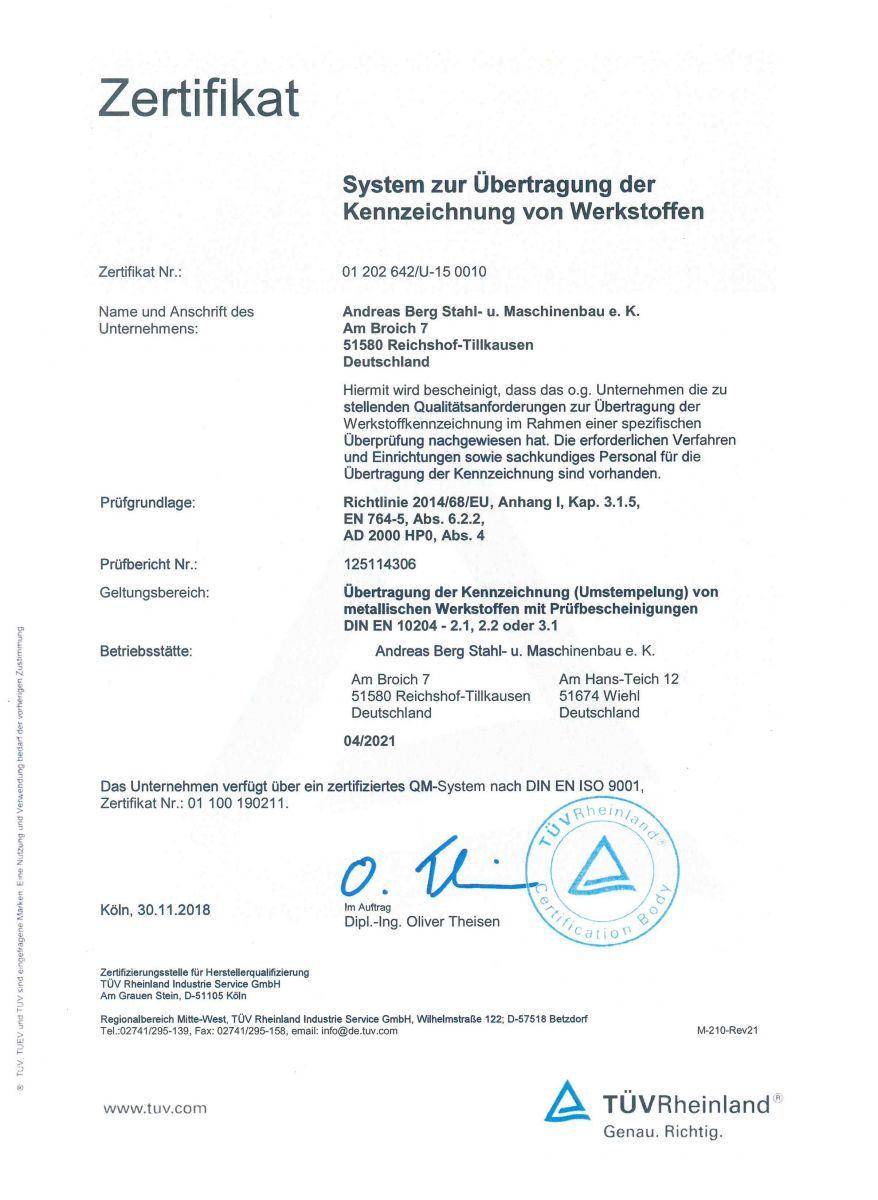 Zertifikat-Übertragung der Kennzeichnung von Werkstoffen