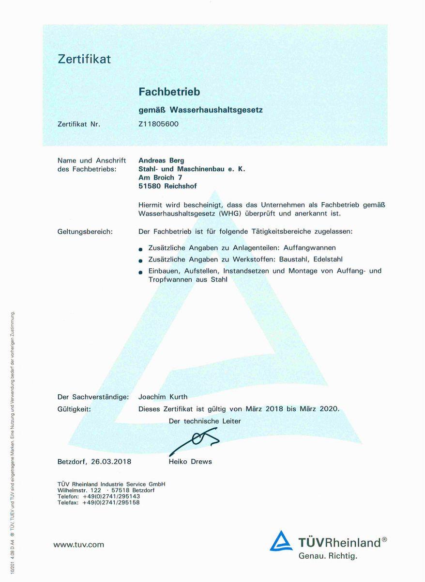 Zertifikat-Fachbetrieb gemäß Wasserhaushaltsgesetzt